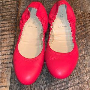 J. Crew Emma Leather Italian Red Ballet Flat 9.5